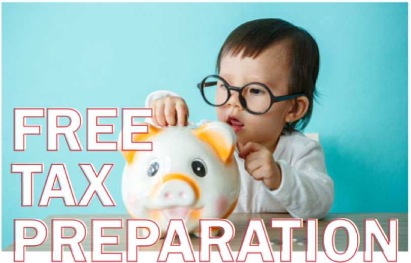 free tax preparation with baby putting money in piggy bank