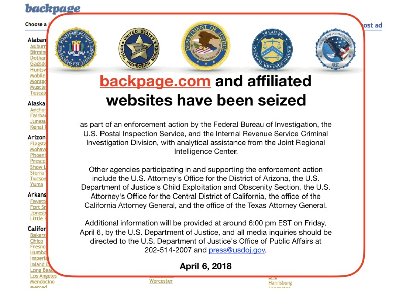 screenshot of backpage.com home page with warning message that website has been seized